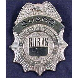 VINTAGE OBSOLETE BURNS SECURITY GUARD BADGE