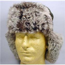 WW2 GERMAN NAZI SS RUSSIAN FRONT FUR CAP - Maker M