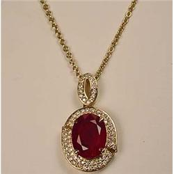 14K GOLD RUBY AND DIAMOND LADIES PENDANT W/ CHAIN
