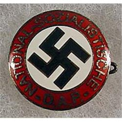 WW2 GERMAN NAZI DAP ENAMELED PIN - Marked on back