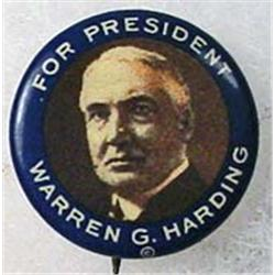 C. 1920'S WARREN G. HARDING CELLULOID POLITICAL PI
