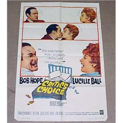 "1963 ""CRITIC'S CHOICE"" 1 SHEET MOVIE POSTER - BOB"