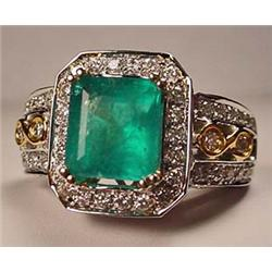 14K WHITE GOLD EMERALD AND DIAMOND LADIES RING - S