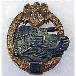 WW2 GERMAN NAZI ARMY 50 TANK ASSAULT BADGE - Has W