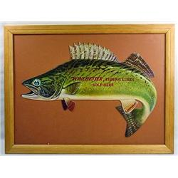VINTAGE WINCHESTER FISHING LURES DIE CUT ADVERTISI