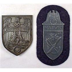 LOT OF 2 WW2 GERMAN NAZI CAMPAIGN SHIELDS - 1940 N