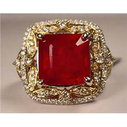 18K WHITE AND YELLOW GOLD RUBY AND DIAMOND LADIES