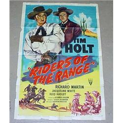 "1949 ""RIDERS OF THE RANGE"" 1 SHEET MOVIE POSTER -"