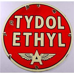 ANTIQUE TYDOL ETHYL 'A' GASOLINE PORCELAIN ADVERTI