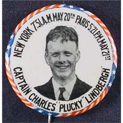 """C. 1920'S CHARLES """"PLUCKY"""" LINDBERGH CELLULOID PIN"""