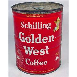 VINTAGE GOLDEN WEST COFFEE ADVERTISING TIN W/ LID