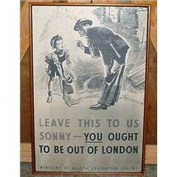 "WW1 FRAMED EVACUATION POSTER - Approx. 28"" x 41.25"