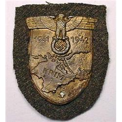 WW2 GERMAN NAZI ARMY KRIM SLEEVE SHIELD W/ GREEN W