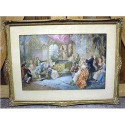 VINTAGE FRAMED PRINT OF VICTORIAN TIMES - Some Dam