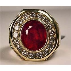 14K GOLD RUBY AND DIAMOND MANS RING - SIZE 11 - Co