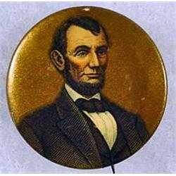 EARLY ABRAHAM LINCOLN CELLULOID PINBACK BUTTON