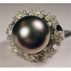 14K WHITE GOLD SOUTH SEA PEARL AND DIAMOND LADIES