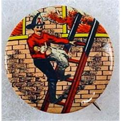 C. 1890'S FIREFIGHTING AND RESCUE CELLULOID PINBAC