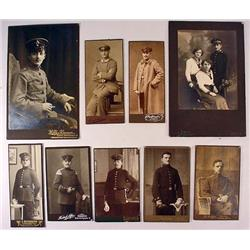 LOT OF 9 WW1 IMPERIAL GERMAN SOLDIER STUDIO PHOTOS