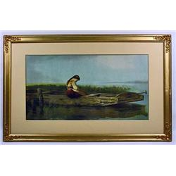 VINTAGE FRAMED PRINT OF A GIRL IN A BOAT - Approx.
