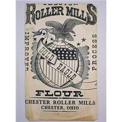 EARLY ROLLER MILLS FLOUR PAPER ADVERTISING SIGN -