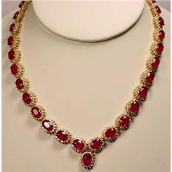 14K GOLD RUBY AND DIAMOND LADIES NECKLACE - Comes