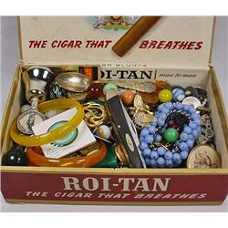 LOT OF MISC. TREASURES IN CIGAR BOX - Incl. Tokens
