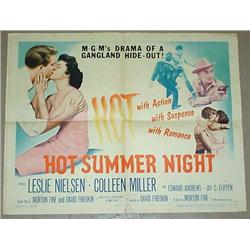 "1956 ""HOT SUMMER NIGHT"" HALF SHEET MOVIE POSTER -"