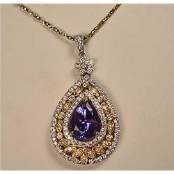 18K WHITE AND YELLOW GOLD TANZANITE AND DIAMOND LA
