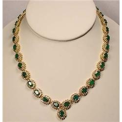 14K GOLD EMERALD AND DIAMOND LADIES NECKLACE - Com