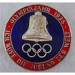 1936 WW2 GERMAN NAZI BERLIN OLYMPICS ENAMELED BADG