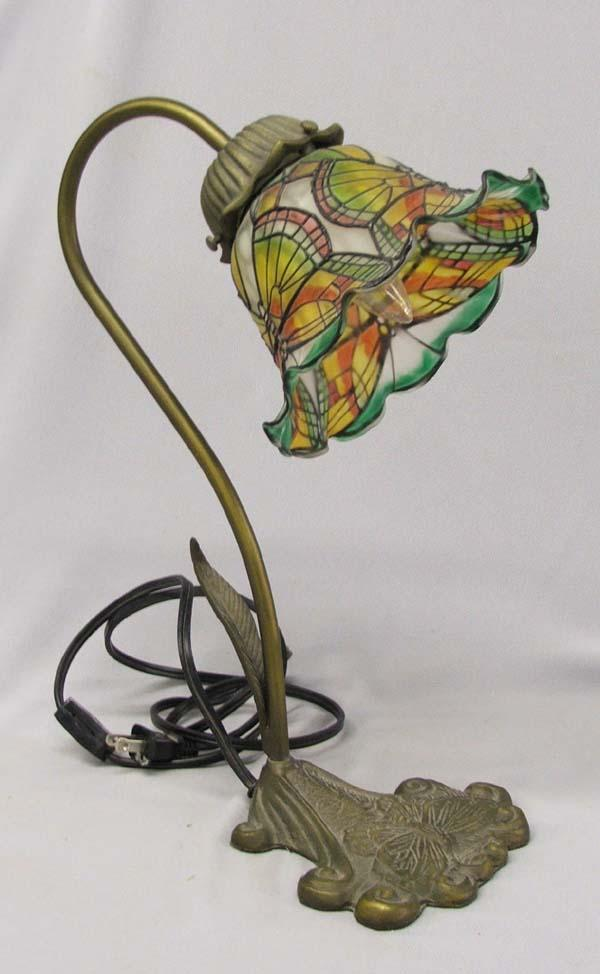 Art Deco Style Glass Lamp Shade On Brass Stand