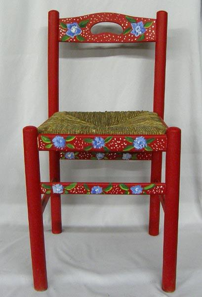 Terrific Hand Painted Wooden Chair With Woven Seat Home Interior And Landscaping Oversignezvosmurscom