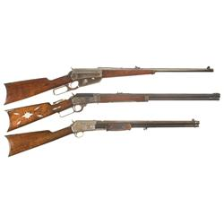 Three Rifles -A) Winchester Model 1895 Lever Action Carbine  B) Marlin Model 1893 Takedown Lever Act