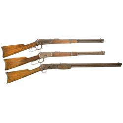 Two Carbines and One Rifle -A) Winchester Model 1894 Saddle Ring Carbine  B) Winchester Model 1892 L
