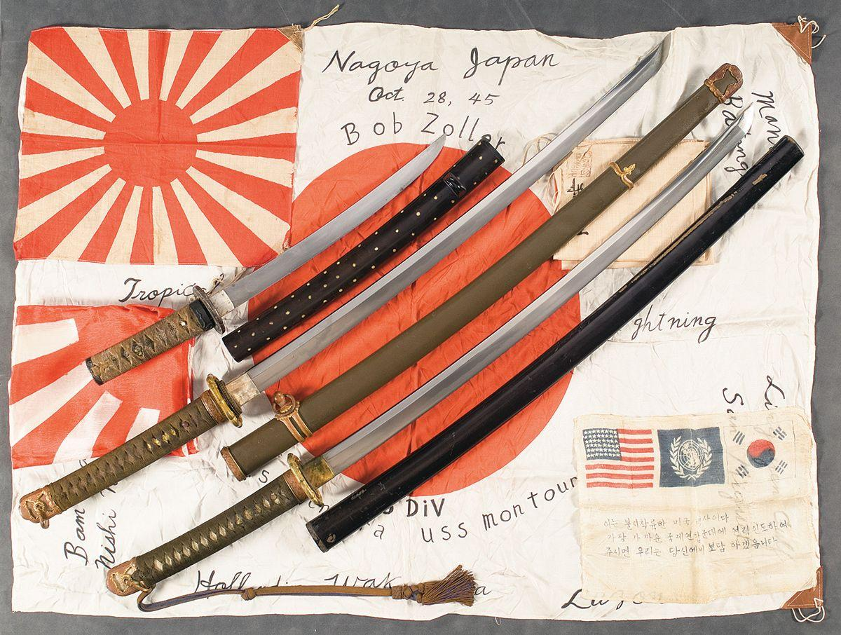 Two Japanese Shin-Gunto, One Wakizashi, Four Japanese Flags and One Korean  War Flag
