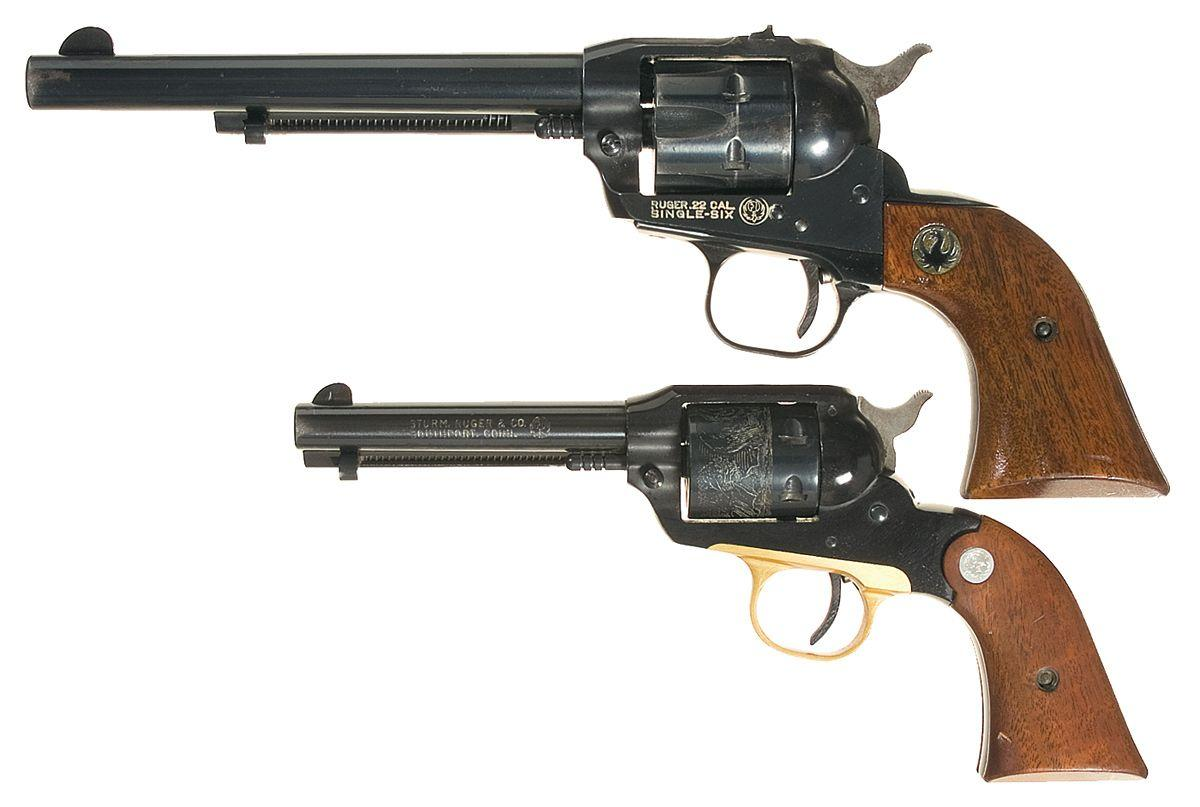 Two Ruger Single Action Revolvers -A) Ruger Single-Six Single Action  Revolver B) Ruger Bearcat Old