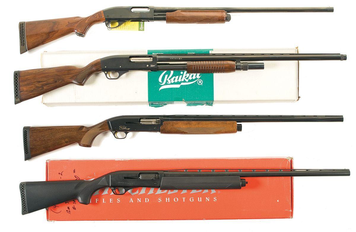 Four Shotguns -A) Remington Model 870 Wingmaster Slide Action Shotgun B)  Baikal Model MP-133 Slide