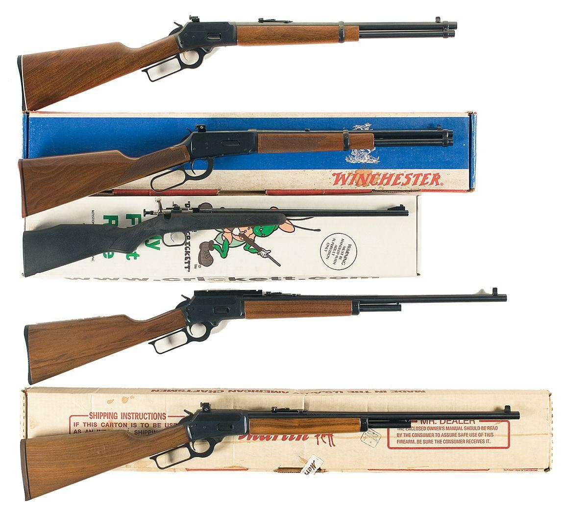 Five Rifles -A) Marlin Model 1894C Lever Action Carbine B) Winchester Model  94 Lever Action Carbine