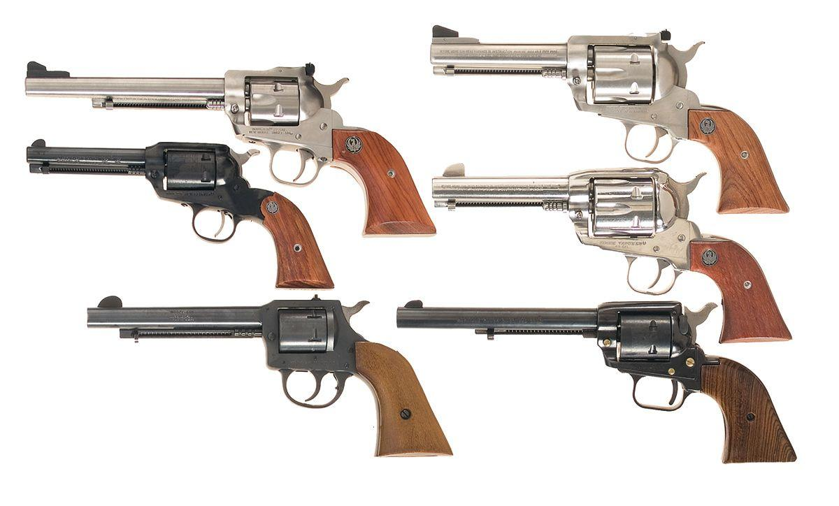 Six Modern Revolvers -A) Ruger New Model Single Six Single Action Revolver  B) Ruger New Bearcat Sin