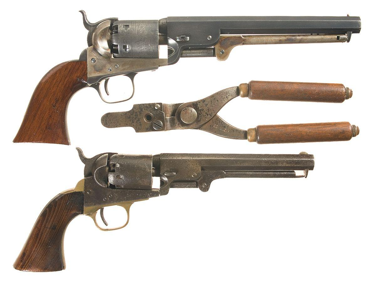 Two Percussion Revolvers -A) Colt Model 1851 Navy Percussion Revolver with  Bullet Mold B) Manhattan