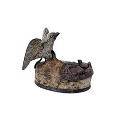 Eagle and Eaglets Mechanical Bank circa 1880s, excellent original paint, in cast iron, American Mech