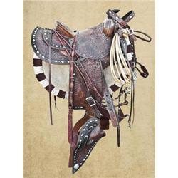 Bohlin Silver Parade Saddle Silver-mounted parade saddle by Edward Bohlin. Made especially for famou