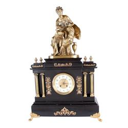 Black Marble French Statue Clock with gilt and bronze figurals, dial is 2-tone porcelain and gilt br