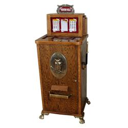 Bally Western Belle #800 25 cent slot machine, cased in oak with brass fixtures, brass claw foot. In