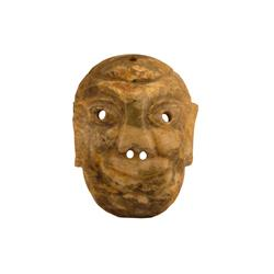Early Possibly Mayan Jade Mask Showing elaborate detailing. Jade is one piece and shows no breakage.