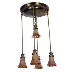 Very Fine 1920s Art Nouveau Cere Dore Bronze style chandelier with 5 Stubben iridescent gold glass t