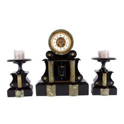 Houget Co. Marble Garnisher Clock Set Black and marble, the French clock pendulum is filled with mer