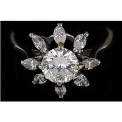 Magnificent Ladies Solitaire with a 1.15 Center VVS round diamond, E-F Color, and 1ct Marquee cut di