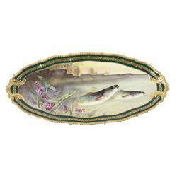 Rare Antique Limoges Porcelain Fish Platter The platter is signed Limoges France on base, measures 2